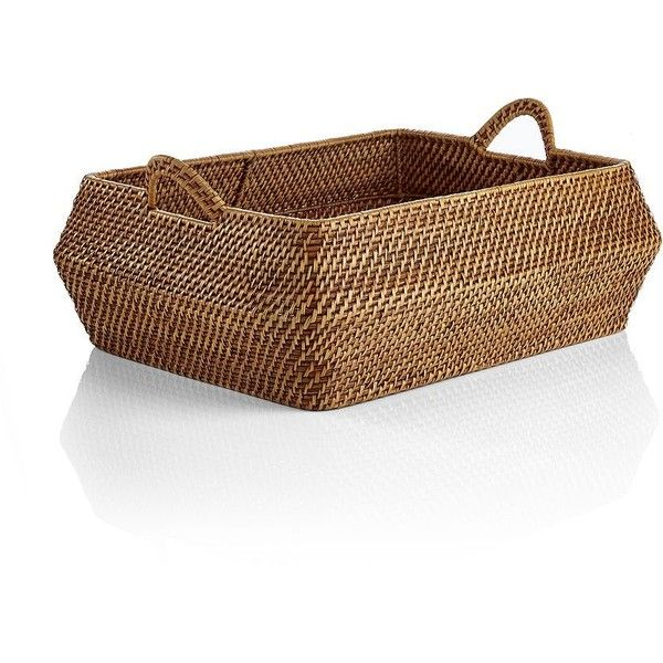 Crate & Barrel Sedona Honey Low Basket (¥8,200) ❤ liked on Polyvore featuring home, home decor, small item storage, rattan baskets, rattan storage baskets, handwoven baskets, crate and barrel baskets and hand woven baskets