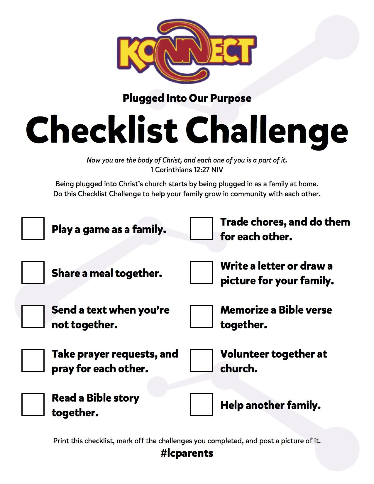 Do The Plugged Into Our Purpose Checklist Challenge To