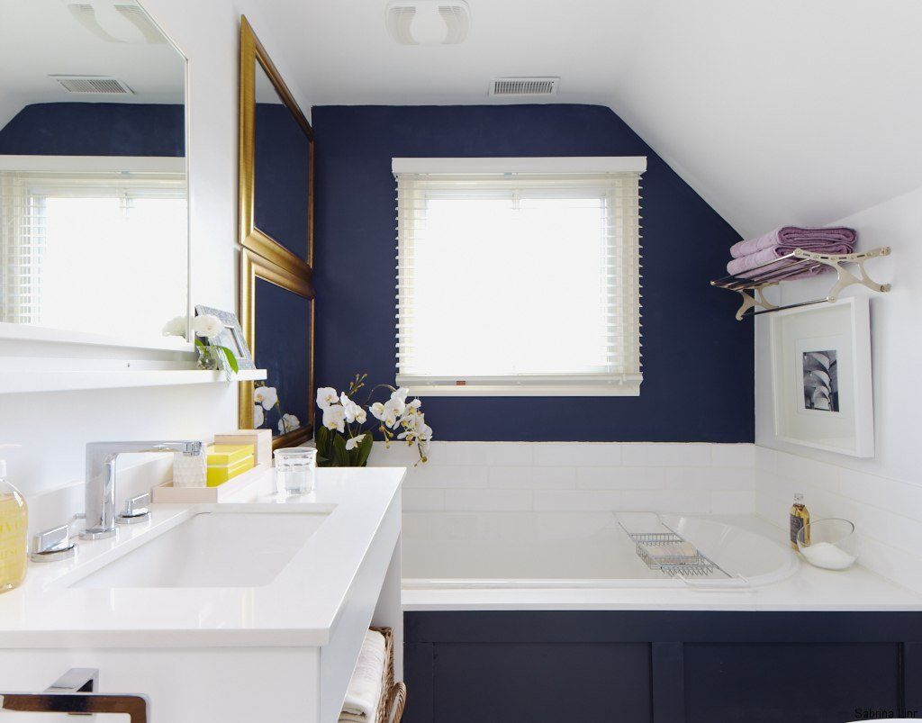 midnight blue + classic white bathroom by sabrina linn via House ...