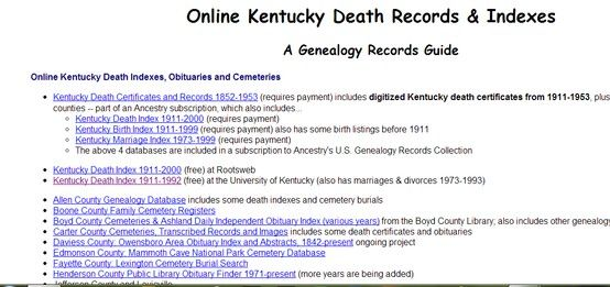 Online Kentucky Death Records and Obituaries | Kentucky Genealogy ...
