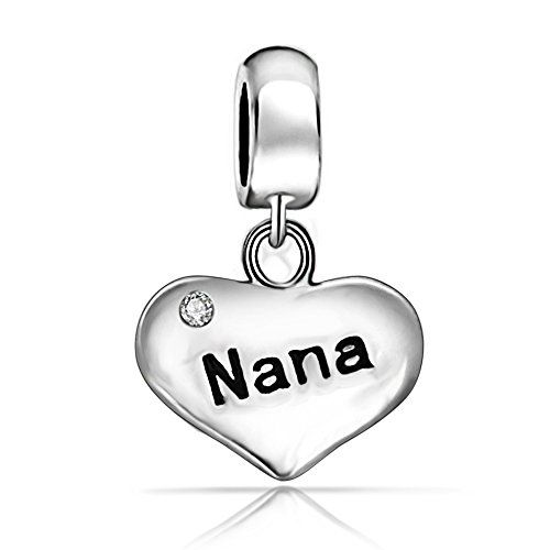 b21a703d1 Everbling Jewelry Nana Heart Dangle Charm 925 Sterling Silver Charm Bead  Fit European Pandora Charms Bracelet