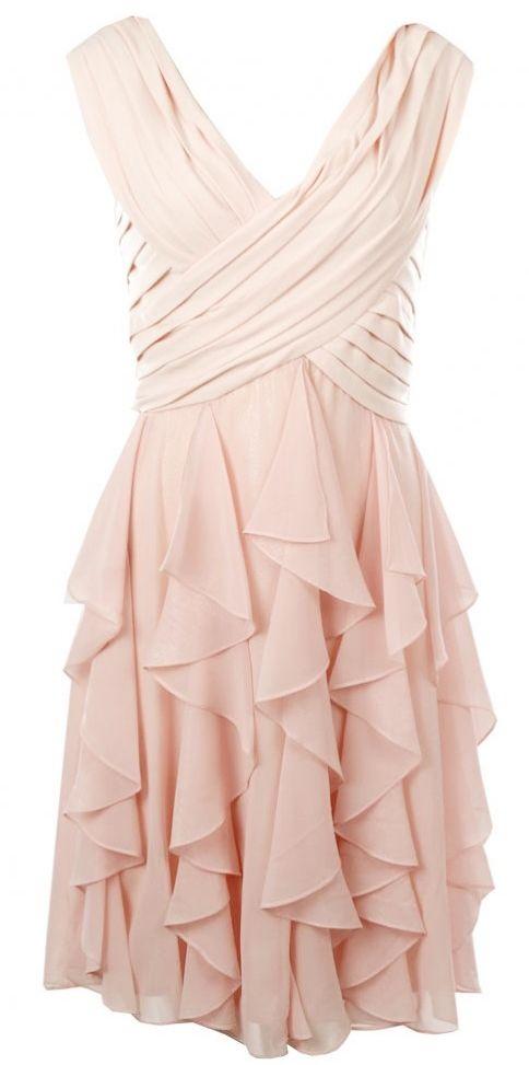 Bernshaw Womens Pink Ruffle Layered Cross Over Front Dress