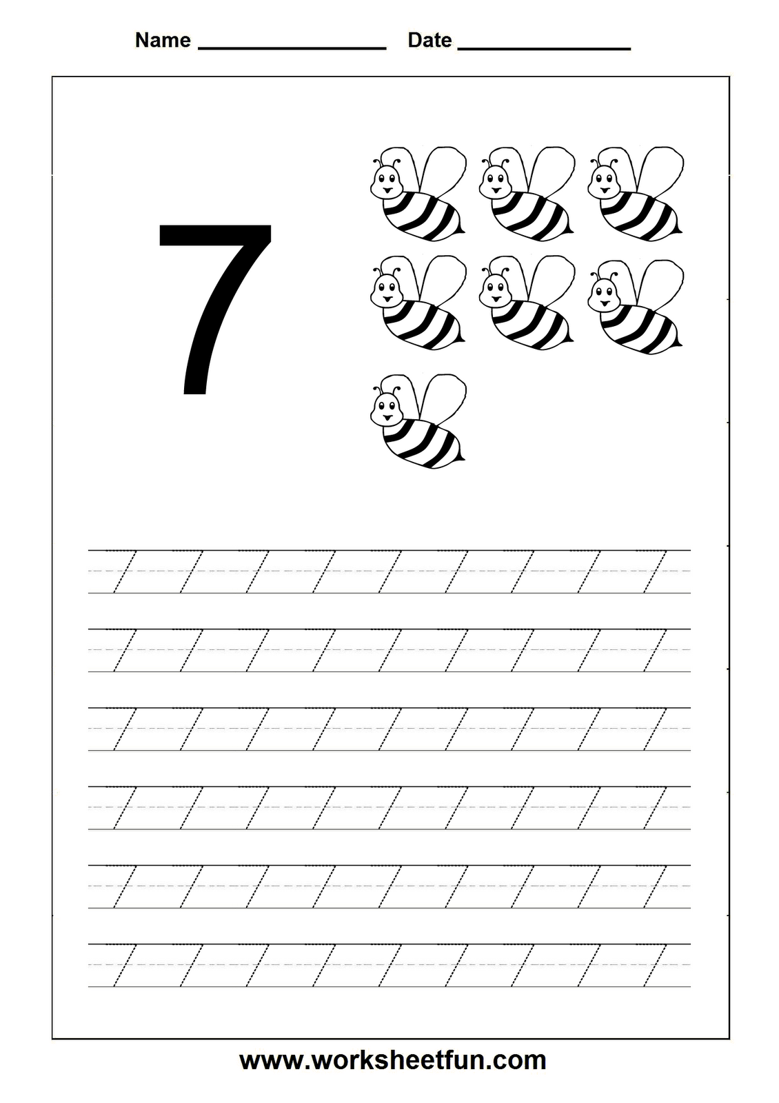 Number Tracing Worksheet 7 Maths Pinterest