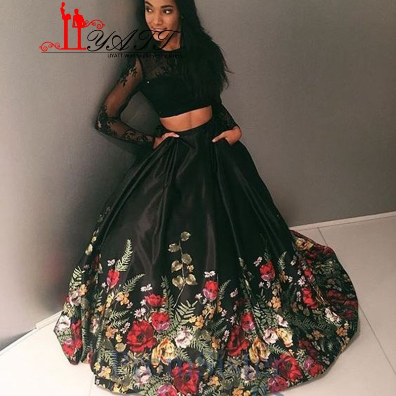 1605e474ab09a 2017 Floral Pattern Flower Print Prom Dresses Robe de Soiree Open ...