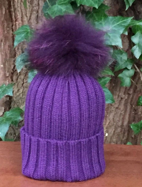 c60fdc52e04 Ribbed Bobble Hat in Purple with Detachable Purple Fur Pom Pom ...