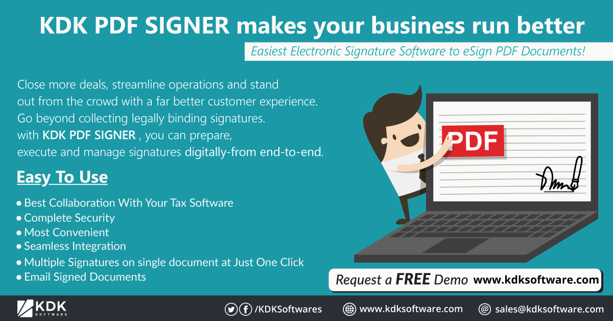 KDK PDF SIGNER makes your business run better Close more