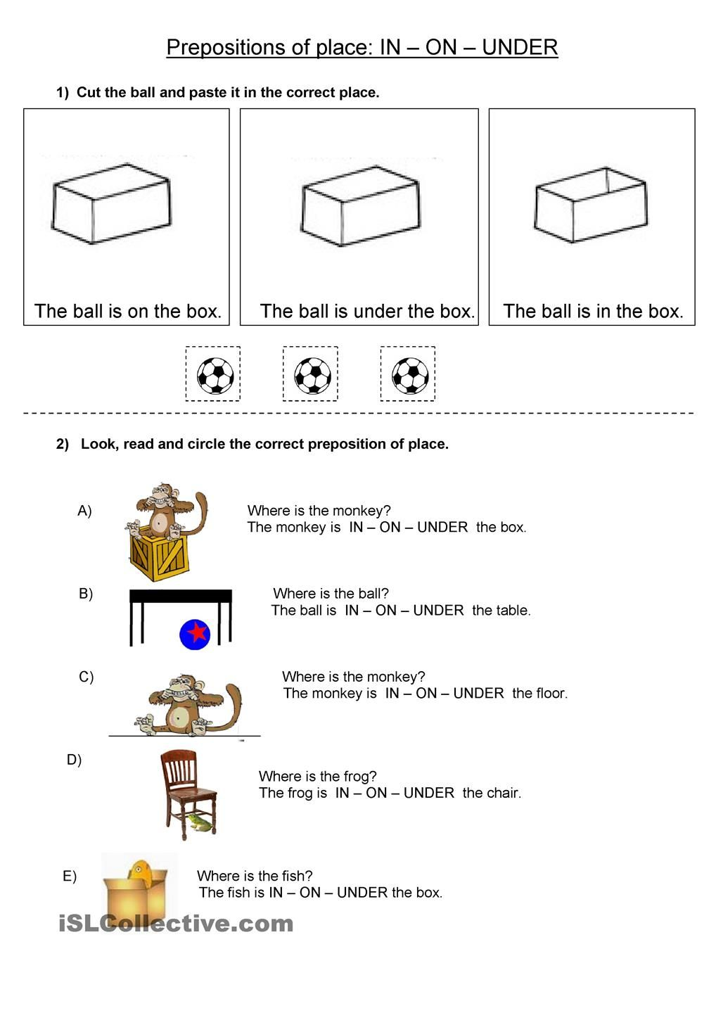 Prepositions Of Place In On Under