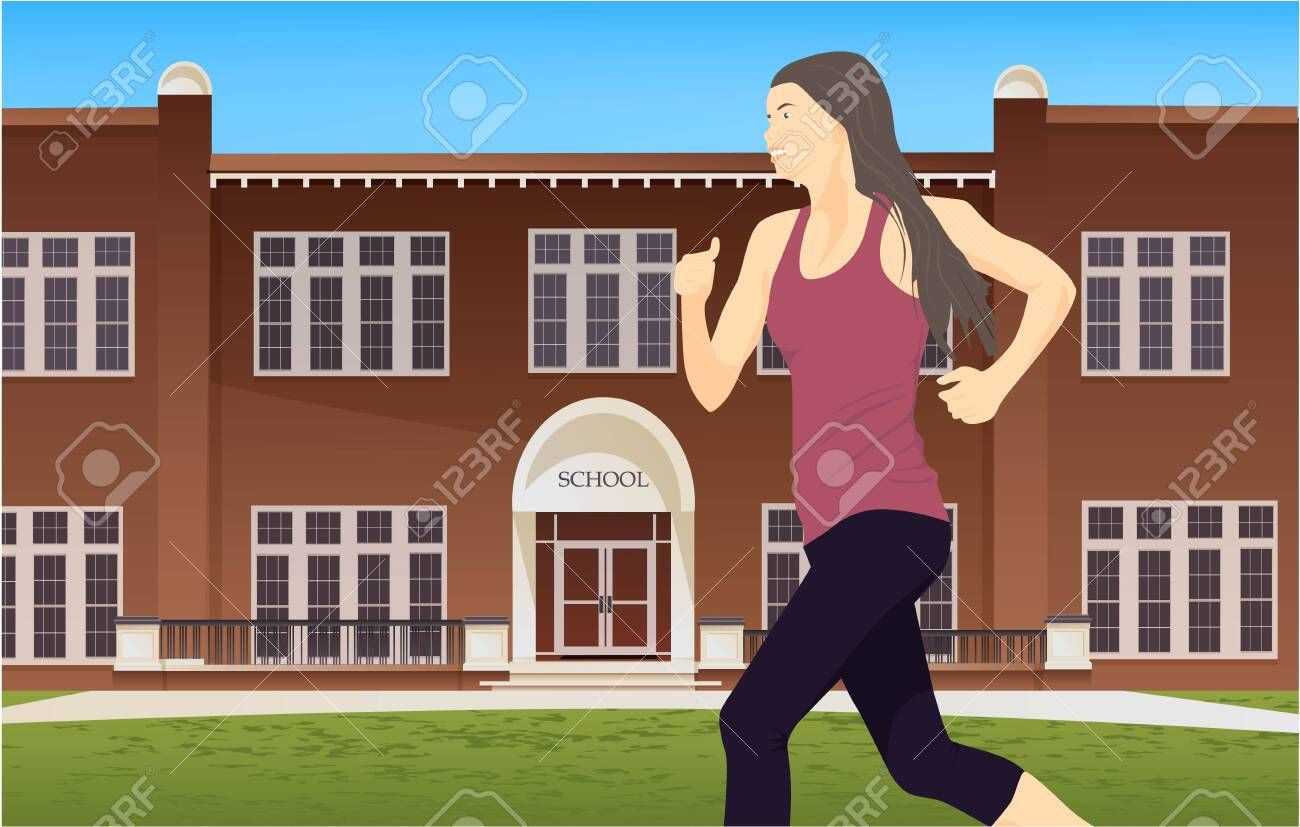 Woman doing fitness exercises in the park, on nature, outdoors. Healthy lifestyle and sport illustra...