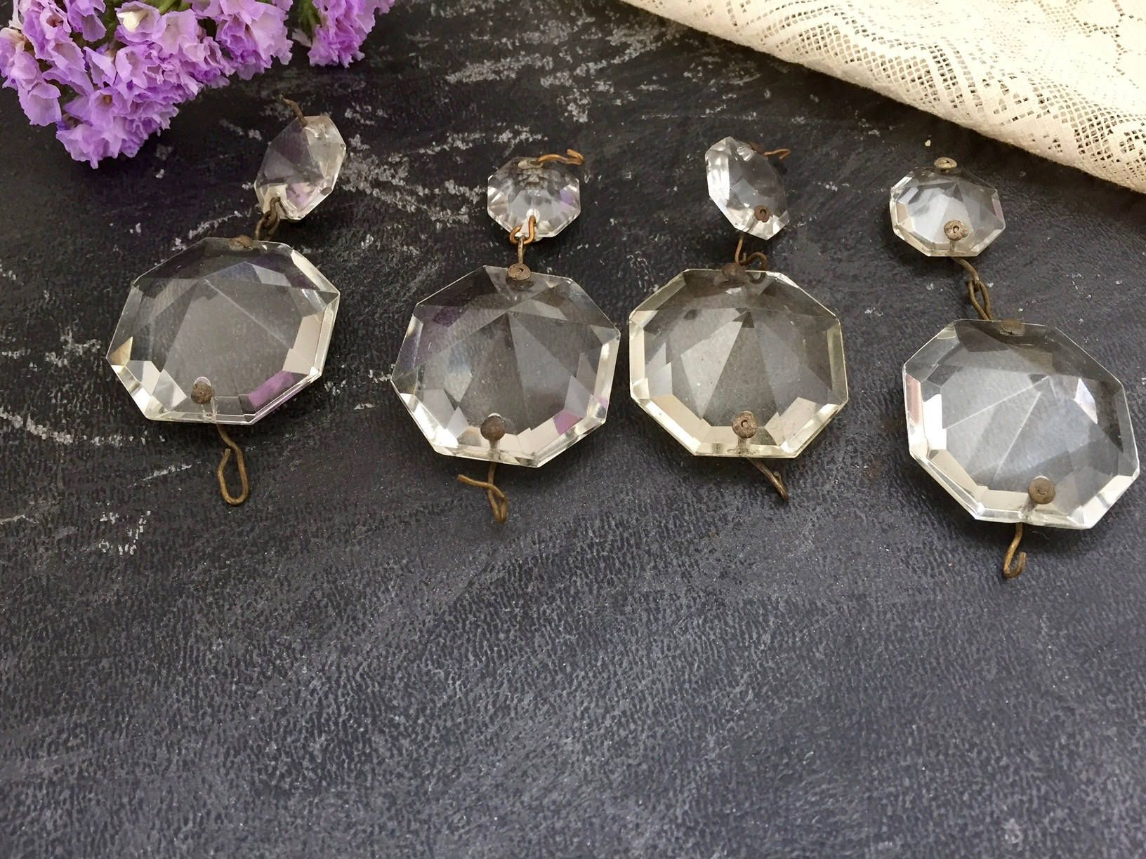 4 Vintage CHANDELIER OCTAGONAL CRYSTALS, Jewelry Making Crystals, Pyramid Faceted Octagonal Chandelier Crystals by BarnboardAntiques on Etsy