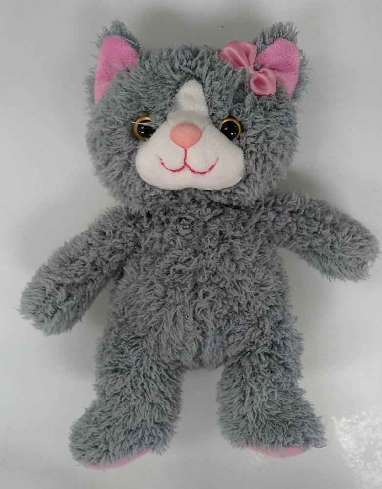 Baby Shaggy Gray Cat Kitten Plush Pink Satin Bow 10 Stuffed Animal