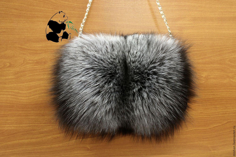 618d1cb2971b Купить Меховая муфта - сумка из меха чернобурки. Стильный дамский аксессуар  - серебряный, мех
