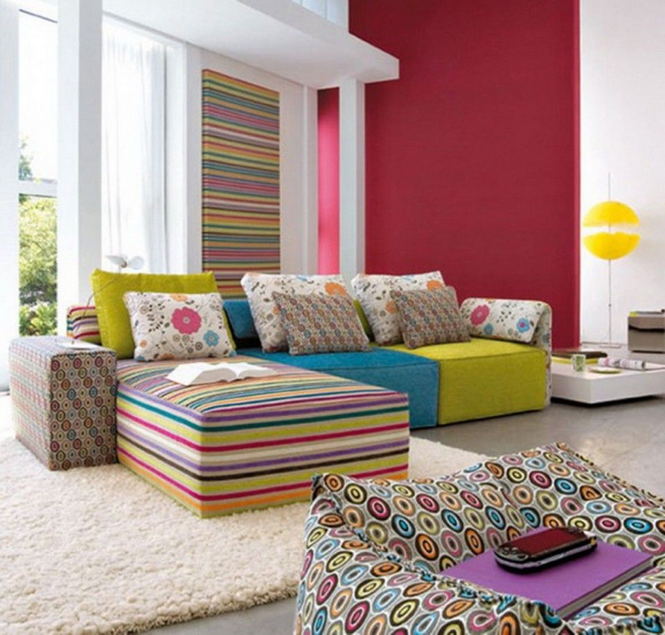 Funky Colorful Striped Sofa Sets In Stylish Urban Living Room Ideas With Yellow Rounded Floor Lamp