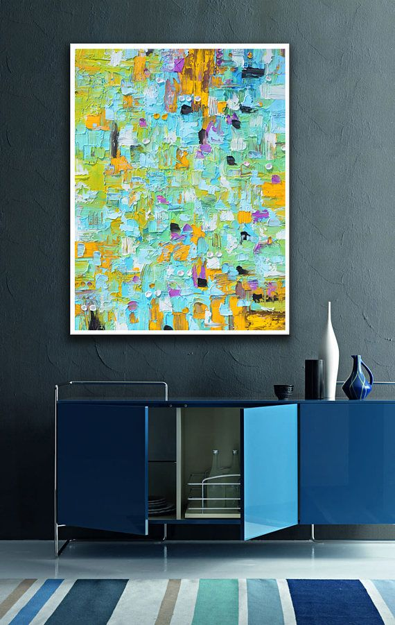 Abstract print from Painting, Blue Modern art, Large Abstract ...