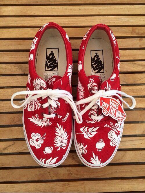 9b9243dfa68c Vans  red flowers aloha