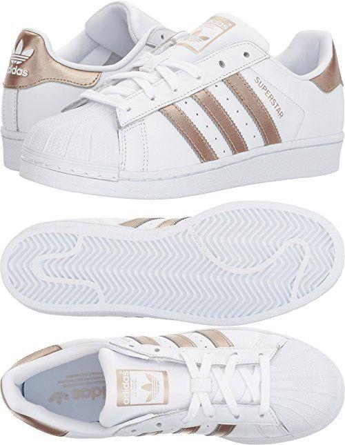 Adidas originali delle superstar w scarpa, bianco / cyber - oro / bianco