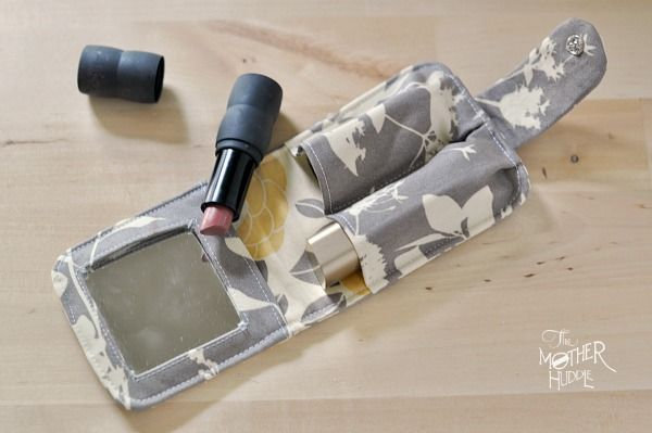 DIY Double Lipstick Case with Mirror Sewing Pattern from The Mother Huddle (free pattern & lots of pictures)