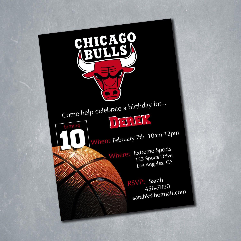 Chicago Bulls Digital Birthday Invitation. Custom NBA Basketball Birthday Party Invitation. Red Black and White. 5x7 by MeghansView on Etsy https://www.etsy.com/listing/219306933/chicago-bulls-digital-birthday
