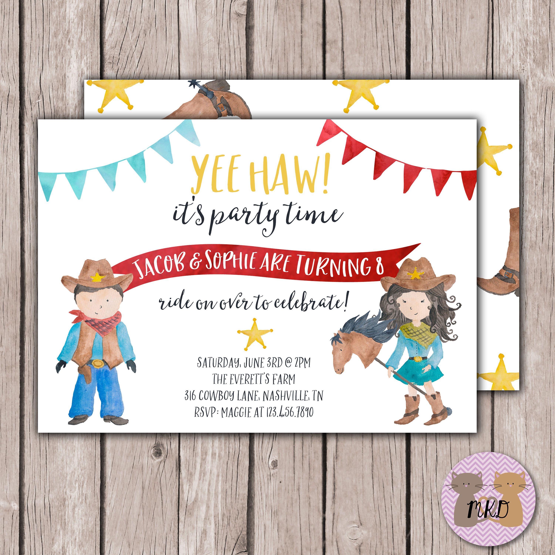 DIY PRINTABLE- Cowgirl Birthday Invite- Cowboy Birthday Invite ...