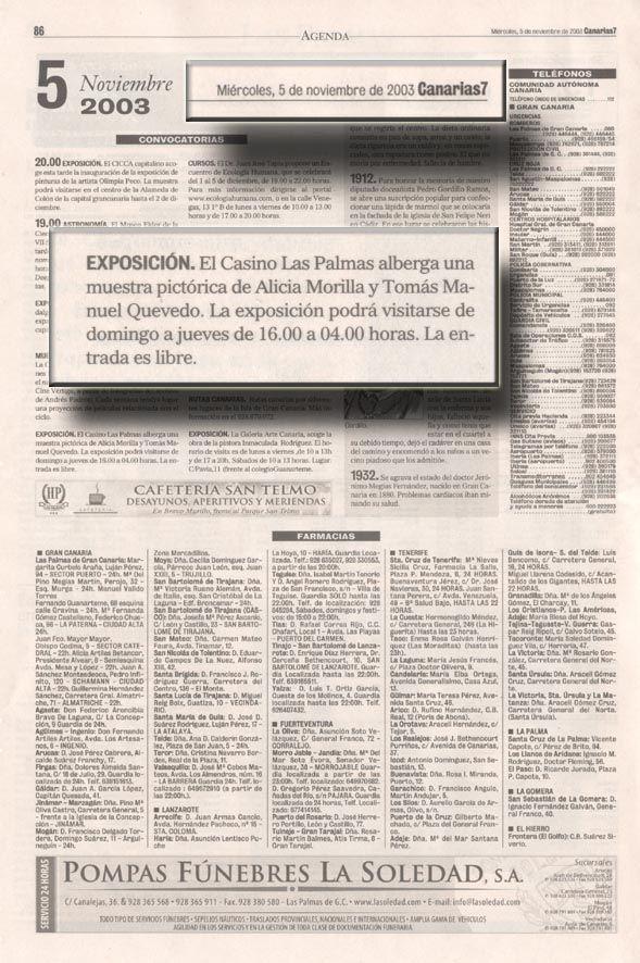 Canarias 7 / 5 de Noviembre de 2003 Miércoles 5 de Noviembre de 2003 Convocatorias  LULU http://www.artemorilla.com/index.php?ci=117