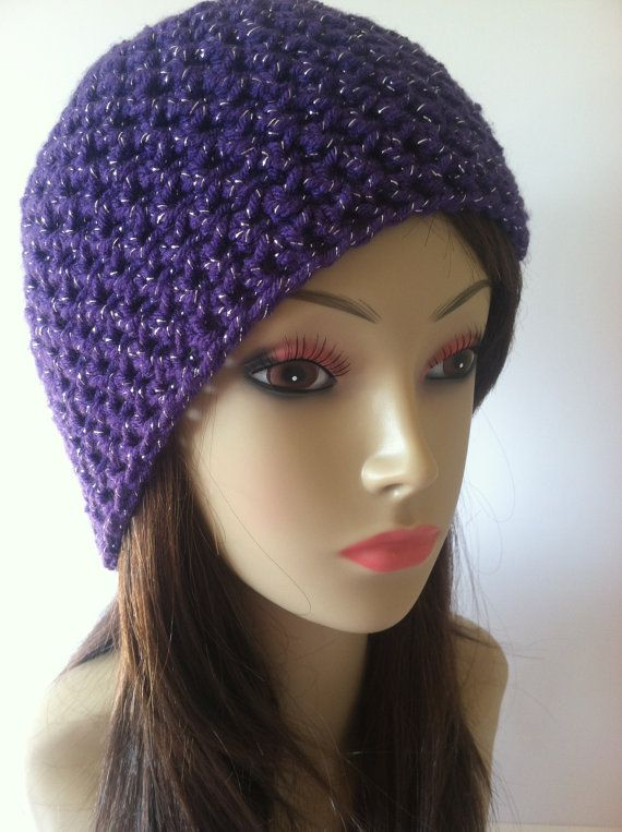 Crochet Fitted Purple Beanie with Silver Sparkle by ScarletsCorner, $18.00