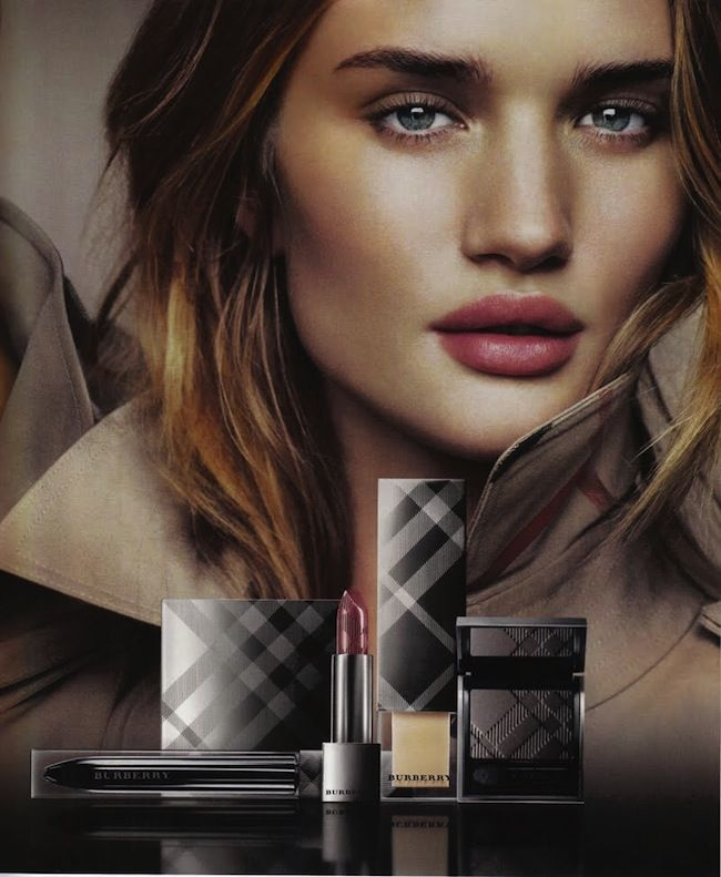 """rosie huntington whiteley, burberry- This is probably lip cover in """"prune # 14"""""""