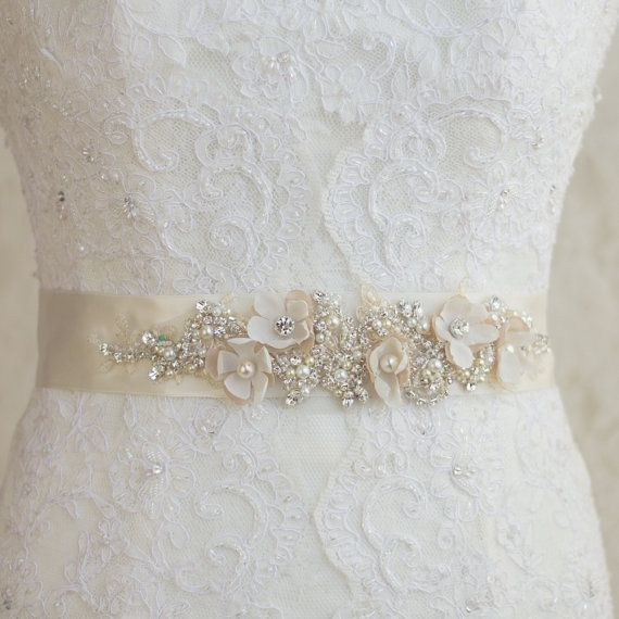 Bridal Sash Champagne Crystal Wedding Dress Belt Unique Ivory