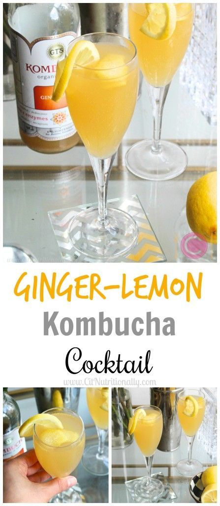 Ginger-Lemon Kombucha Cocktail Tart with a hint of sweetness, and full of ginger flavor, my Ginger