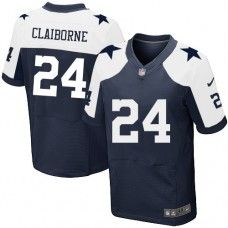 Men's Nike Dallas Cowboys #24 Morris Claiborne Elite Navy Blue Throwback Alternate Jersey