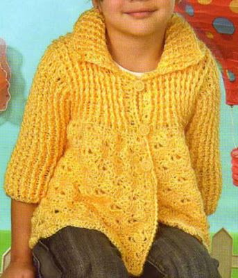 f0fbd04fb chaleco para niña de 3 años con manga 3/4 tejido a crochet chaleco tejido a  crochet con media manga OjoconelArte.cl
