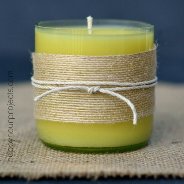 How to cut bottles to make homemade beeswax candles at www for Easy way to cut wine bottles