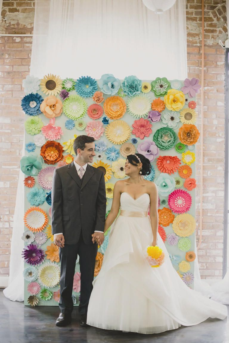 15 instagram worthy backdrop ideas and 4 diys backdrops kristy and mike brightened up their stark loft like venue with an abundance of diy paper flowers and lots of whimsical pastel accents dhlflorist Choice Image