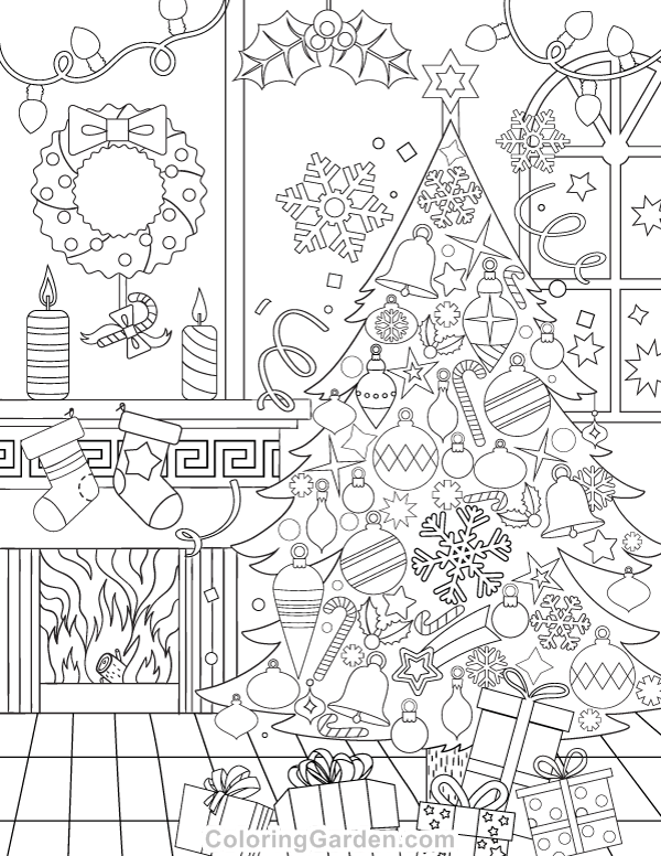 Free printable christmas adult coloring page download it in pdf format at http coloringgarden com download christmas coloring page