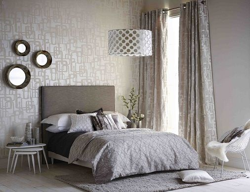 Harlequin Momentum fabrics   wallpapers for a seriously silver bedroom   Curtains  blinds  cushions. Harlequin Momentum fabrics   wallpapers for a seriously silver