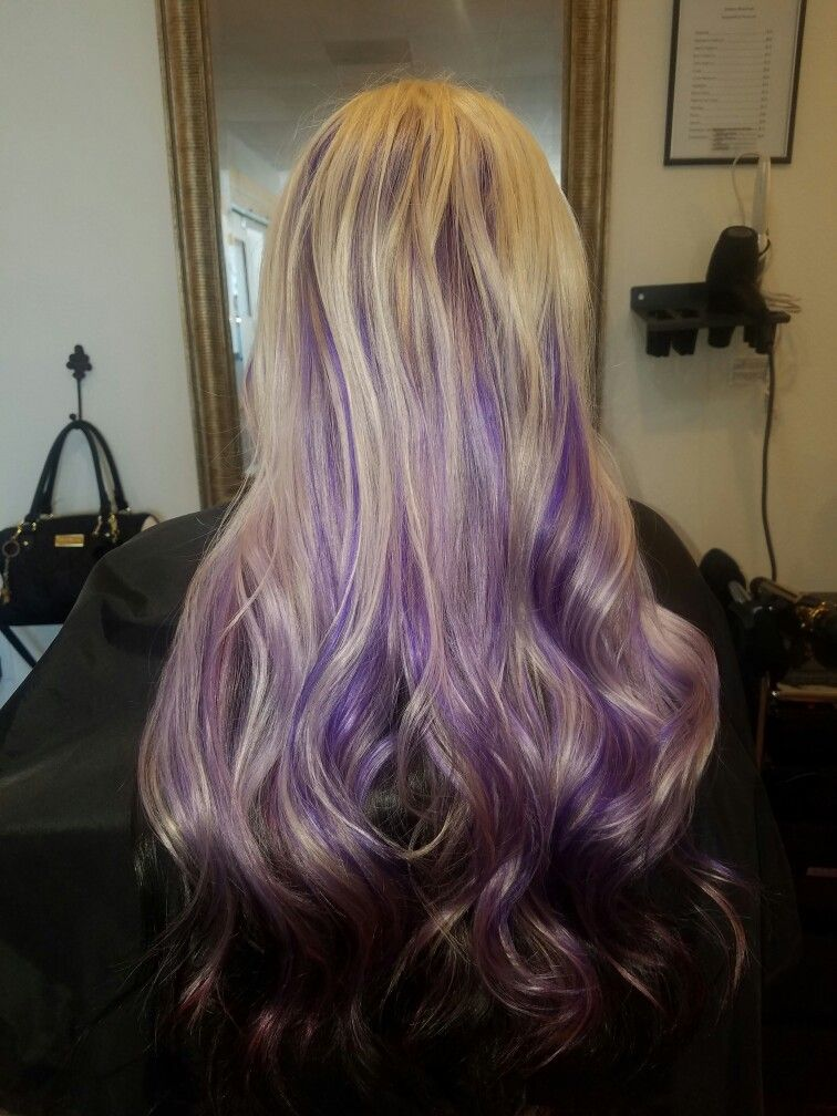 Blonde Root Retouch With Purple Peekaboos Hair By Kristina Dyed