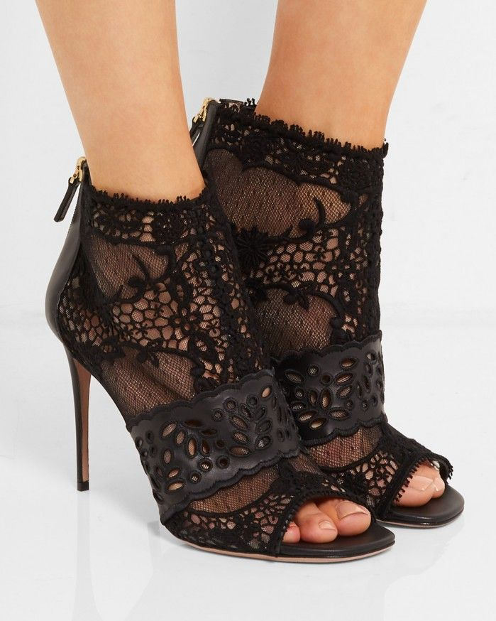 VALENTINO Laser-cut leather, lace and tulle ankle boots - Shoes Post