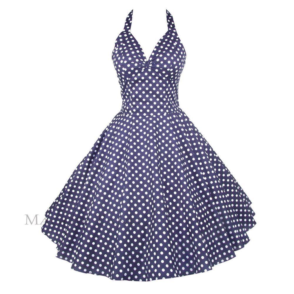 PROM PARTY DRESS 14-22 H/&R LONDON POLKA DOT SWING 50/'S BLUE VINTAGE PLUS