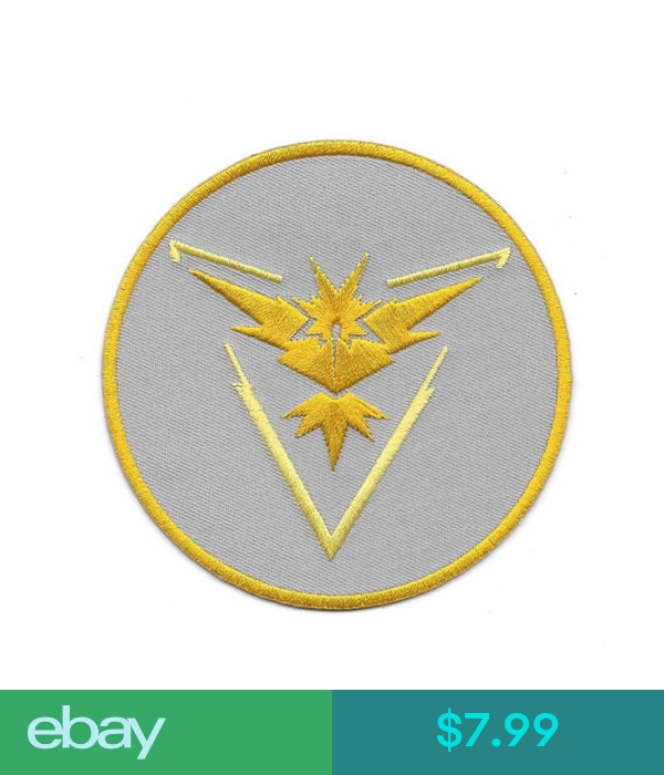 Pokemon Go Game Team Instinct Logo 3 5 Round Embroidered Patch New Unused Embroidered Patches Team Instinct Go Game