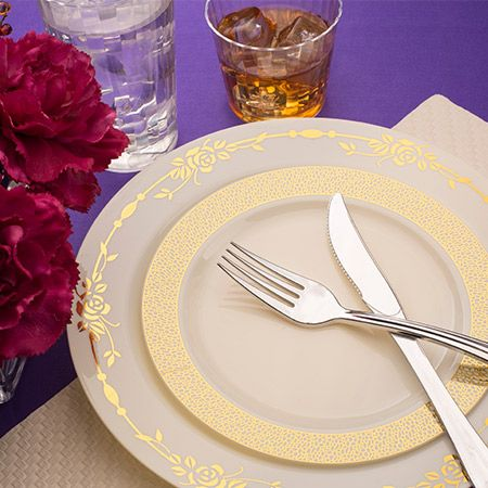 7 5 Ivory With Gold Heritage Rim Plastic Appetizer Salad Plates Plastic Plates Wedding Disposable Wedding Plates Plastic Wedding Table