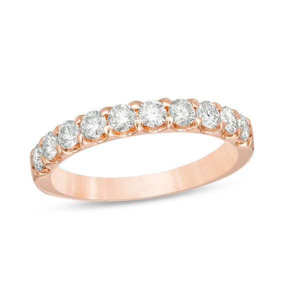 7 8 Ct T W Diamond Wedding Band In 10k Rose Gold Zales In 2020 Diamond Wedding Bands Wedding Bands Rose Gold Wedding Bands