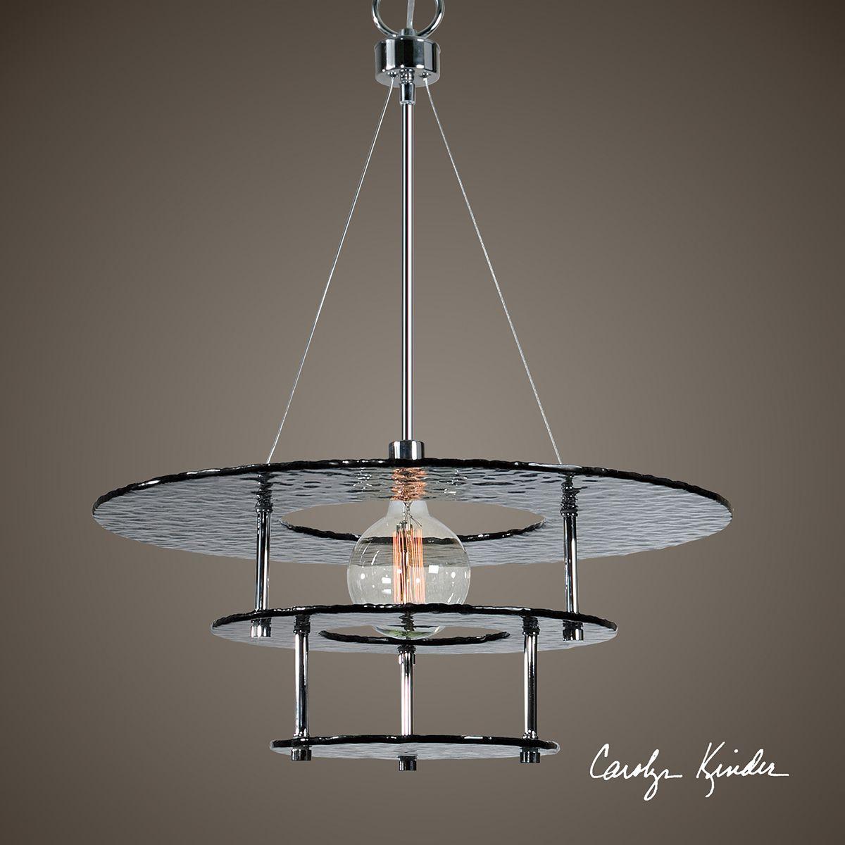 Uttermost gyrus chrome metal light chandelier set of