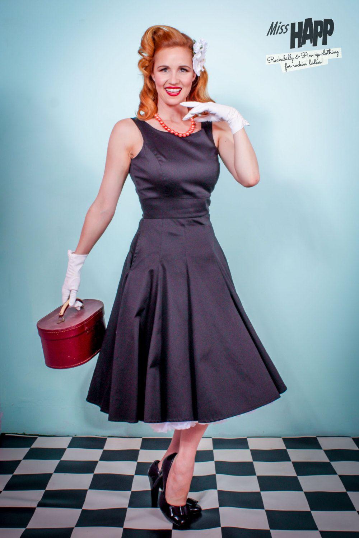 Black Audrey Hepburn Pinup Swing Dress by MissHapp on Etsy | Miss ...