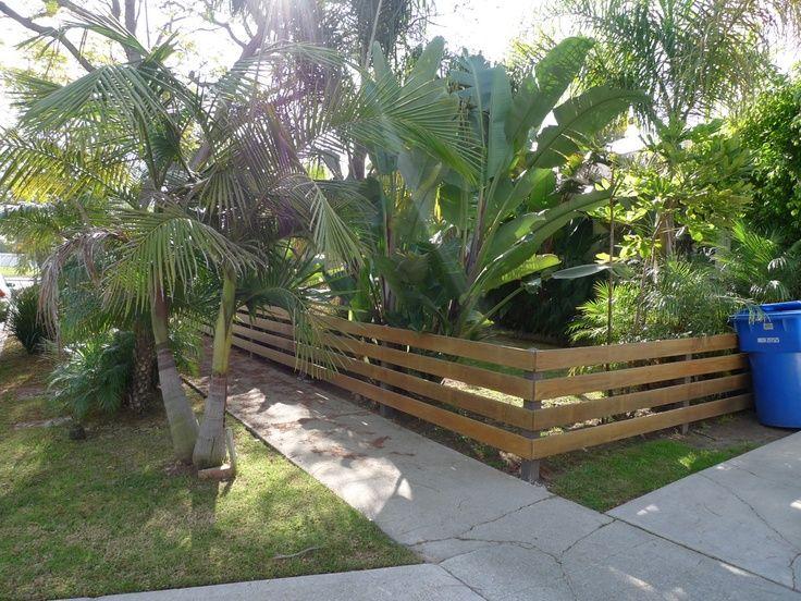 Low Level Wood Horizontal Slat Fence
