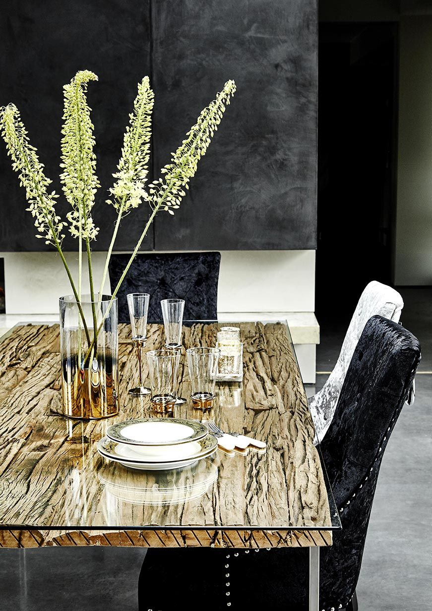 Caspian Atlantic Dining Table Made From Reclaimed Wood And Stainless Steel With A Stunning Glass Surface