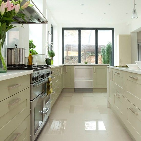 Modern White And Pale Green Kitchen Cabinets