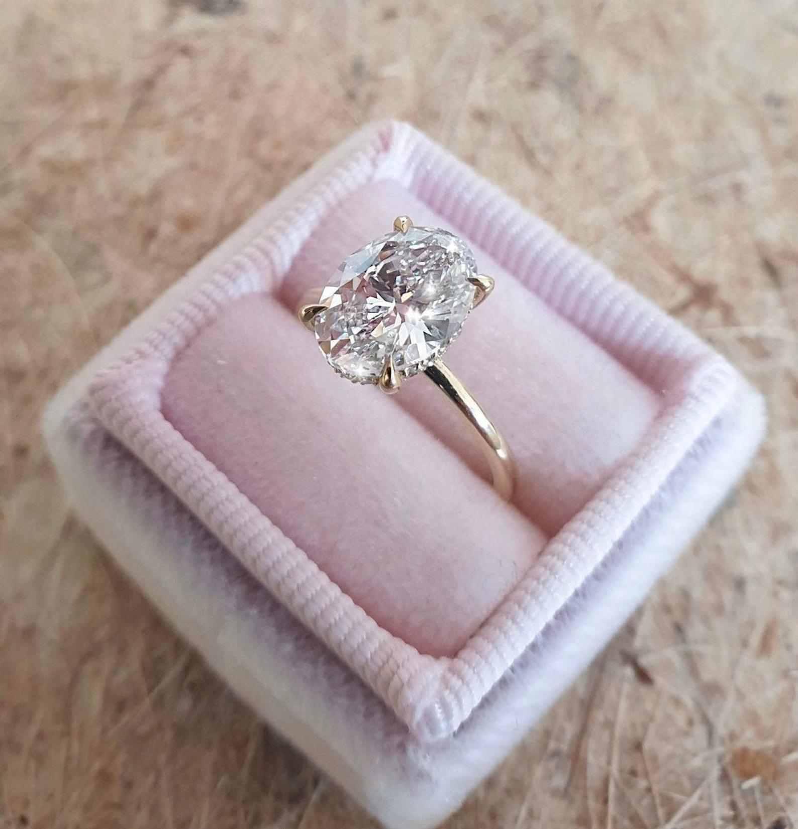 2 carat oval diamond engagement ringhidden halo 14k yellow