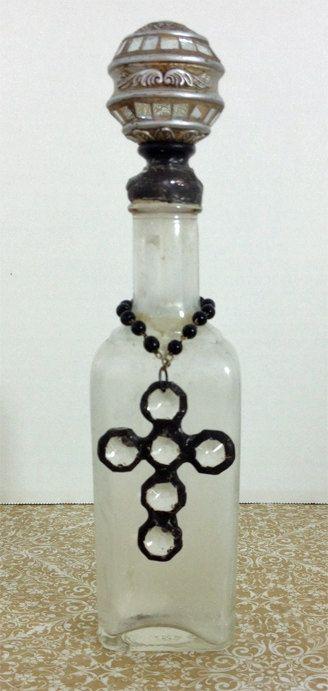Altered Vintage Medicine Bottle With Soldered Crystal