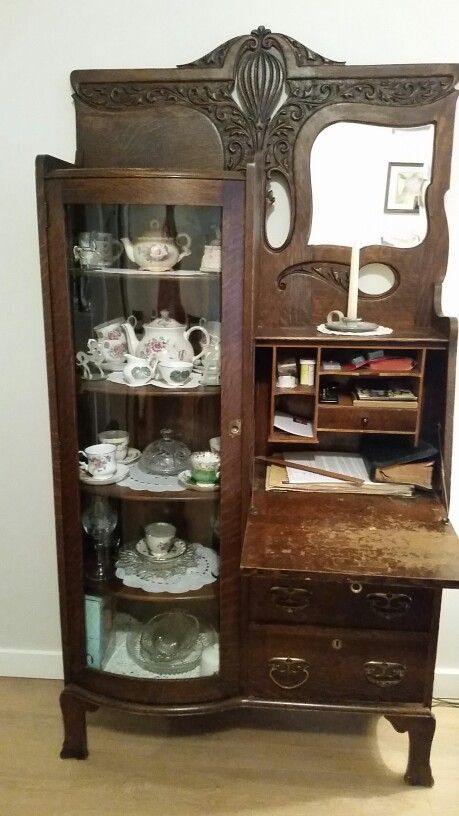 My Great Grandmothers Antique 1900 S Drop Front Secretary Desk With Curve Glass Bookcase Antique Secretary Desks Diy Furniture Bedroom Secretary Desks