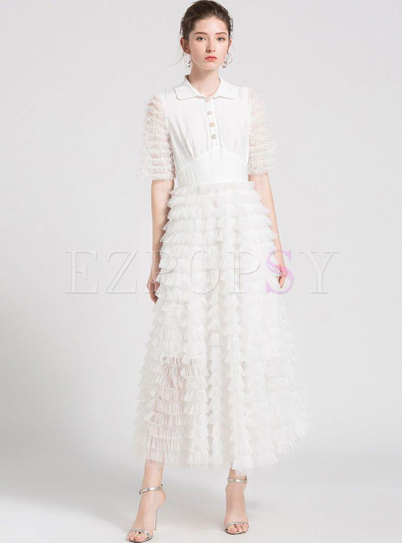White Sweet Stitching Gauze Layered Dress Dresses Layer Dress Fab Dress [ 1066 x 789 Pixel ]