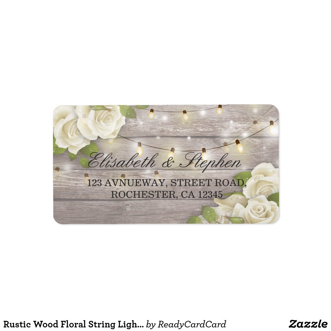 Rustic Wood Floral String Lights Wedding Address Label  Bridal