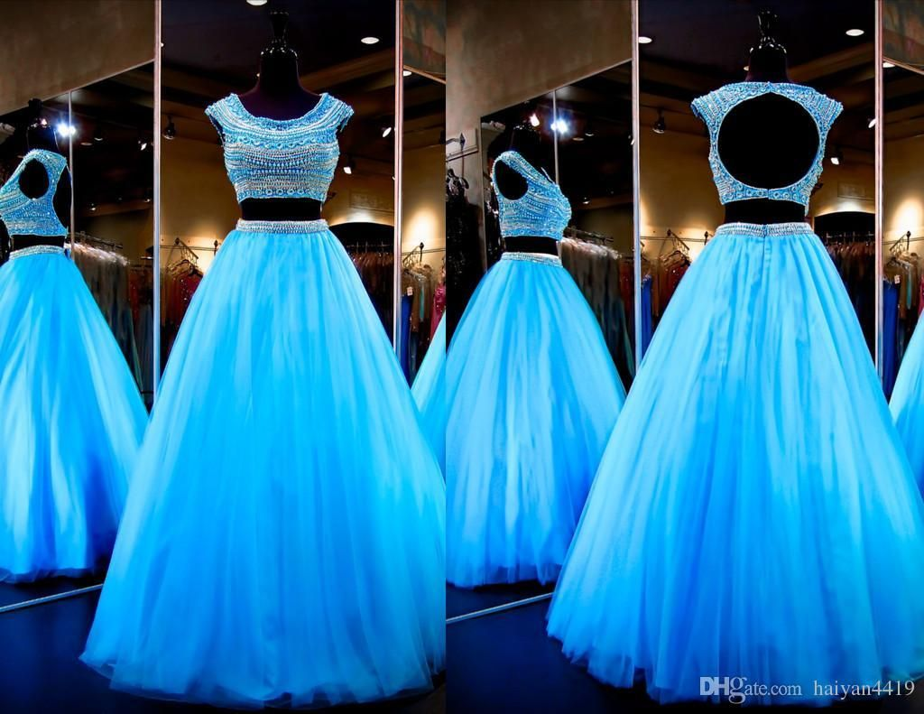 2016 Two Pieces Prom Dresses Crystal Pearl Beads Jewel Neck Cap ...